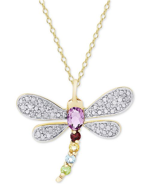 "Macy's Multi-Gemstone (5/8 ct. t.w.) & Diamond Accent Dragonfly 18"" Pendant Necklace in 18K Gold-Plated Sterling Silver"