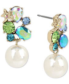 Betsey Johnson Gold-Tone Crystal Cluster Pearl Drop Earrings