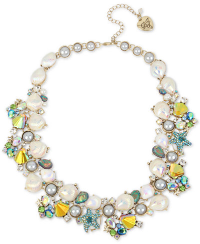 Betsey Johnson Gold-Tone Crystal & Imitation Pearl Shell Cluster Collar Necklace, 17