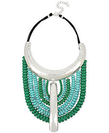 "Robert Lee Morris Soho Silver-Tone Beaded Leather Statement Necklace, 15-1/2"" + 3"" extender"