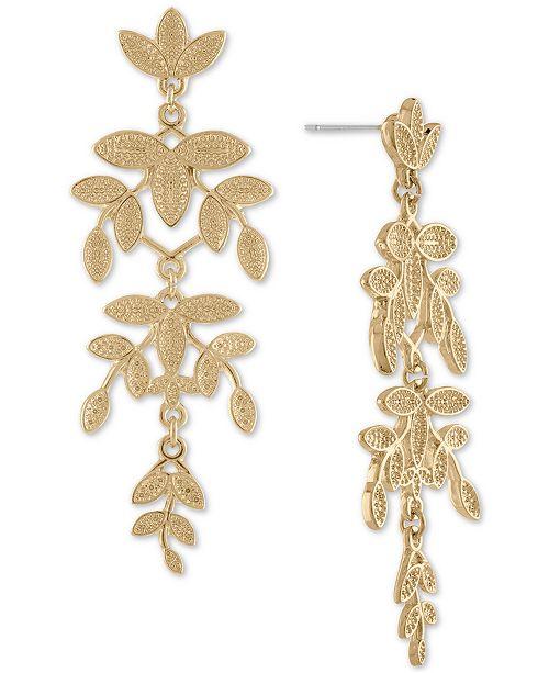 Rachel rachel roy gold tone leaf chandelier earrings fashion main image main image aloadofball Image collections