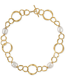 "Majorica Gold-Tone Imitation Pearl Circle Link 16"" Collar Necklace"
