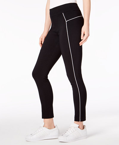 Bar III Piped Pull-On Skinny Pants, Created for Macy's