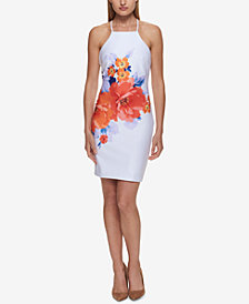 GUESS Placed-Floral Apron Sheath Dress