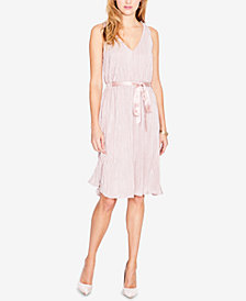 RACHEL Rachel Roy Metallic Pleated Ribbon Dress