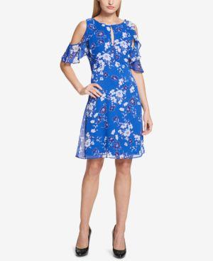 KENSIE FLORAL-PRINT COLD-SHOULDER DRESS
