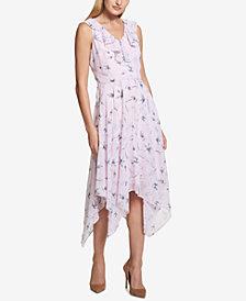 kensie Floral-Print Ruffle Handkerchief-Hem Dress
