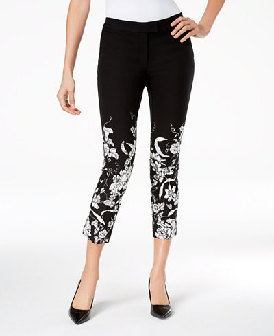 Alfani Printed Ankle Skinny Pants, Created for Macy's