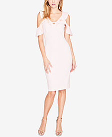 RACHEL Rachel Roy Ruffle Cold-Shoulder Sheath Dress