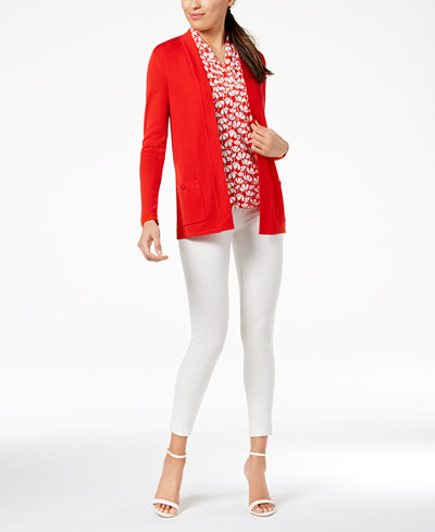 Anne Klein Open-Front Cardigan & Printed Pleated V-Neck Top
