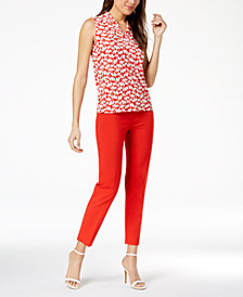 Anne Klein Printed Pleated V-Neck Top & Bowie Slim-Fit Pants