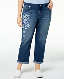 Style & Co Plus Size Cascading Flowers Boyfriend-Fit Ankle Jeans, Created for Macy's