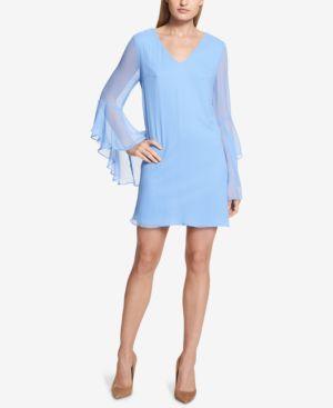 KENSIE BELL-SLEEVE CHIFFON SHIFT DRESS