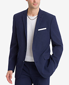 CLOSEOUT! Bar III Men's Slim-Fit Active Stretch Navy Stripe Seersucker Suit Jacket, Created for Macy's