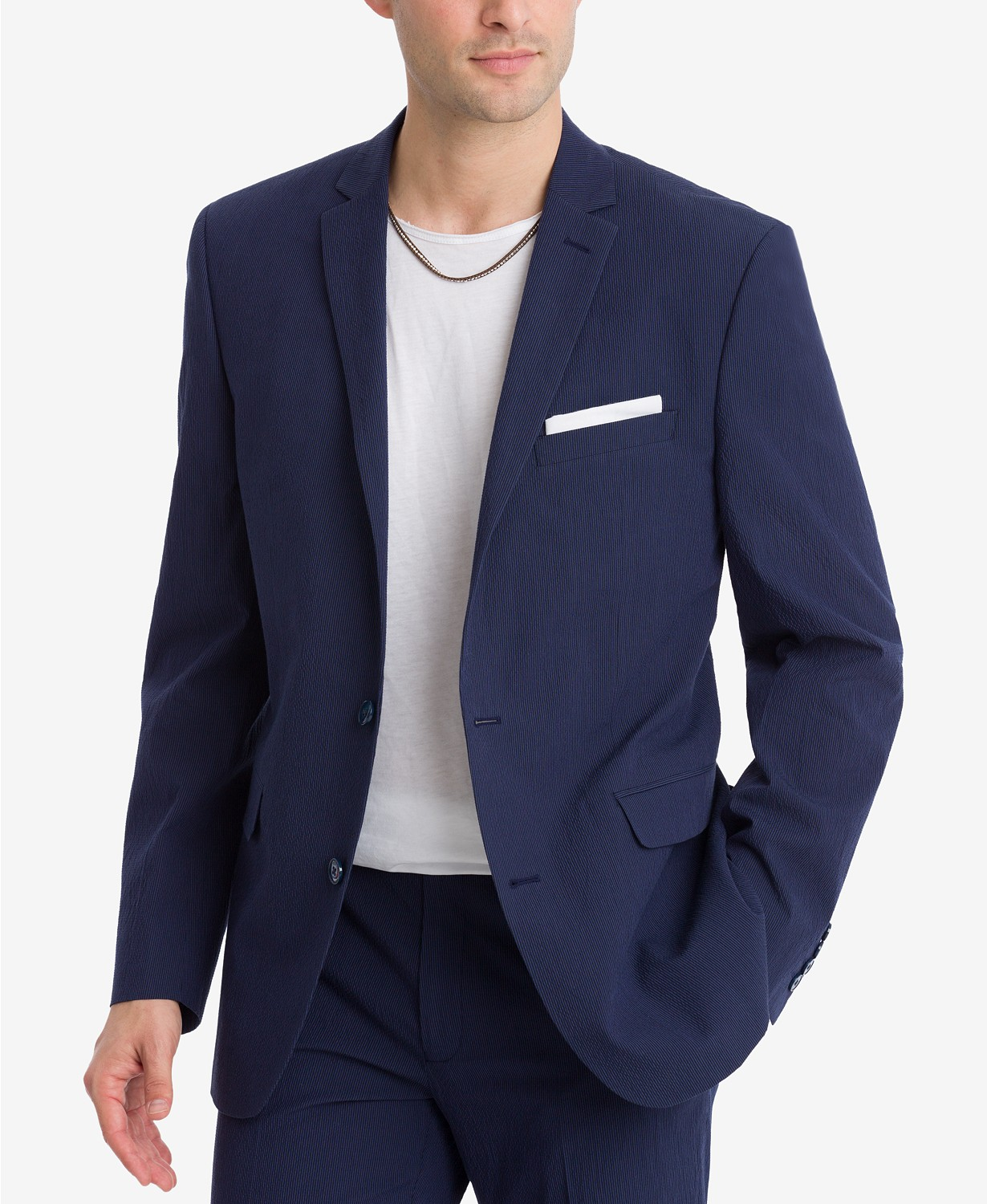 Bar III Men's Slim-Fit Active Stretch Seersucker Suit Jacket