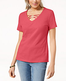 Karen Scott Embellished T-Shirt, Created for Macy's