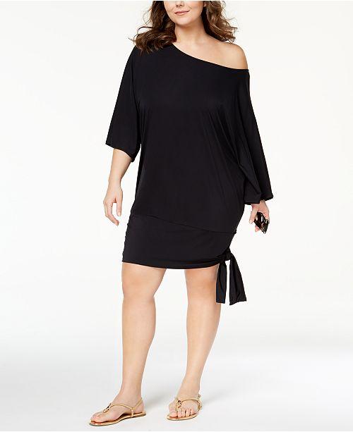 Michael Kors Plus Size Side Tie Cover Up Dress Swimwear Plus