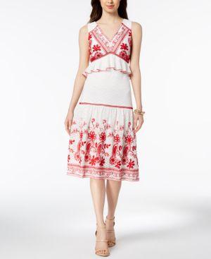 JAX Embroidered Peplum Midi Dress in White/Red