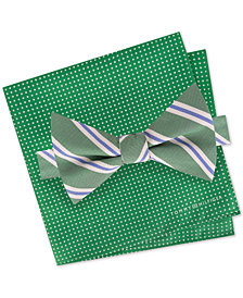 Tommy Hilfiger Men's Creek Stripe Pre-Tied Silk Bow Tie & Dot Silk Pocket Square Set