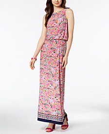 Nine West Printed Blouson Maxi Dress