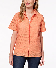 Alfred Dunner Petite Los Cabos Layered-Look Eyelet Top