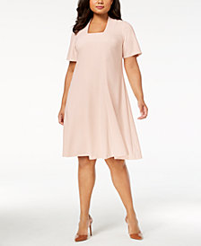 Calvin Klein Plus Size Scuba Crepe Fit & Flare Dress