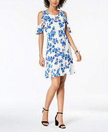 Nine West Printed Cold-Shoulder Floral Print Dress