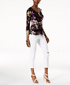 I.N.C. Printed Mesh Peplum Top & Ripped Cropped Jeans, Created for Macy's
