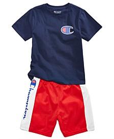 "Toddler Boys ""C"" Logo T-shirts and Panel Shorts, 2-piece Set"