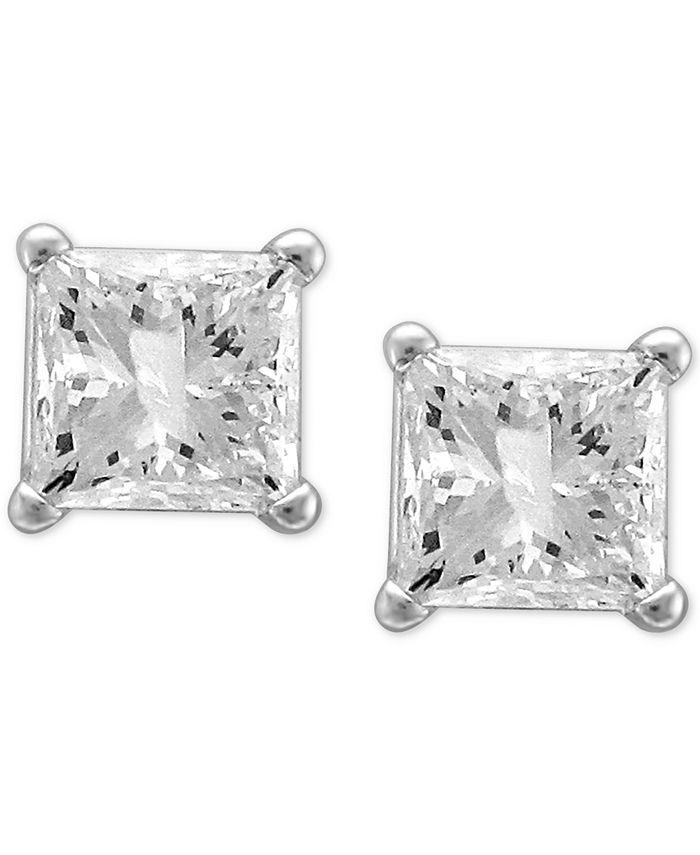 Macy's - Diamond Princess Stud Earrings (1-1/4 ct. t.w.) in 14k White Gold