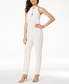 Material Girl Juniors' Lace-Up Cutout Jumpsuit, Created for Macy's