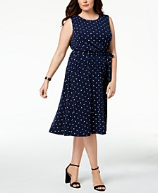 Plus Size Polka-Dot A-Line Dress, Created for Macy's
