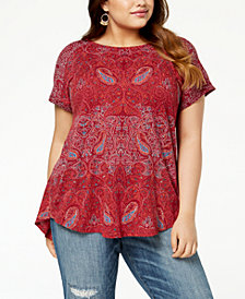Lucky Brand Trendy Plus Size Paisley-Print T-Shirt