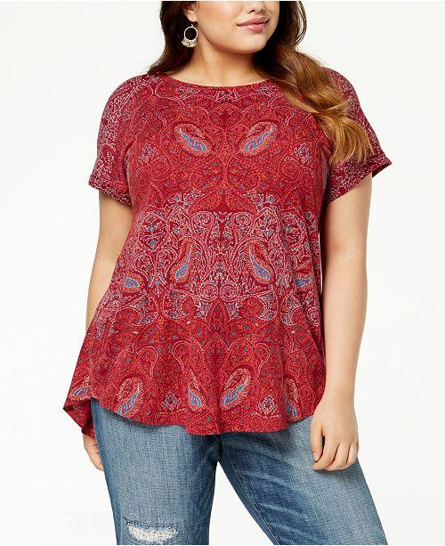 0cd047f8239 Lucky Brand Plus Size Paisley-Print T-Shirt & Reviews - Tops - Plus ...