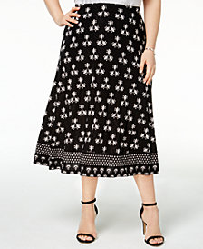 JM Collection Plus Size Printed A-Line Skirt, Created for Macy's