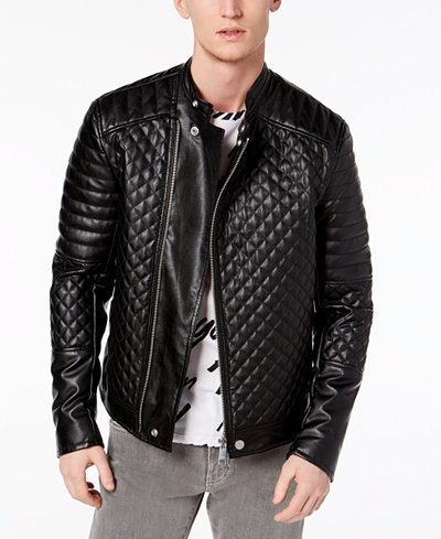 Armani Exchange Men's Quilted Faux-Leather Moto Jacket