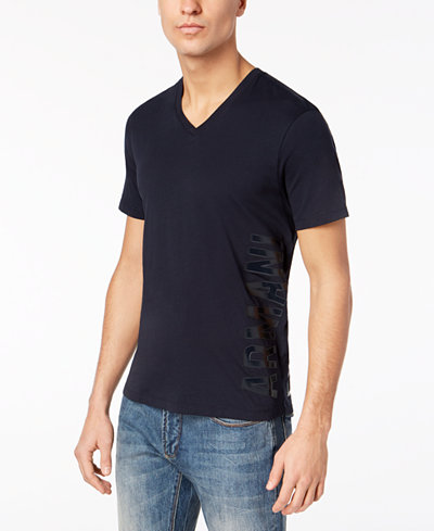 Armani Exchange Men's V-Neck Vertical Logo T-Shirt