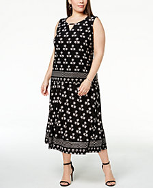 JM Collection Plus Size Tank Top & A-Line Skirt, Created for Macy's