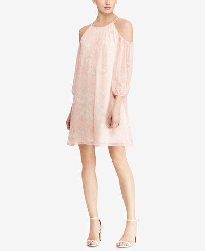American Living Floral-Print Cold-Shoulder Dress