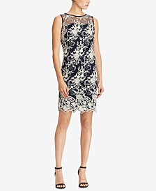 Lauren Ralph Lauren Floral-Embroidered Mesh Dress