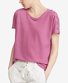 Lauren Ralph Lauren Lace-Up-Sleeve Striped T-Shirt