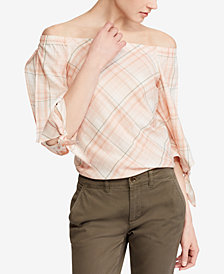 Lauren Ralph Lauren Plaid Off-The-Shoulder Cotton Top