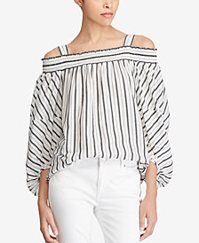 Lauren Ralph Lauren Striped Off-The-Shoulder Cotton Top
