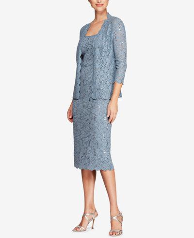 Alex Evenings Petite Sequined Lace Midi Dress & Jacket