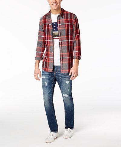 American Rag Ocean Plaid Shirt, Americana T-Shirt & Riverview Jeans, Created for Macy's