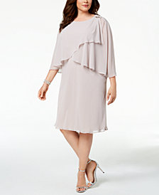 SL Fashions Plus Size Caped Shift Dress