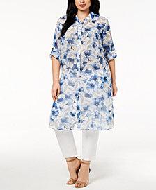 Calvin Klein Plus Size Floral-Print Tunic Shirt