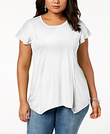 I.N.C. Plus Size Handkerchief Hem T-Shirt, Created for Macy's