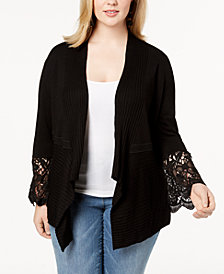 I.N.C. Plus Size Lace-Trim Cardigan, Created for Macy's