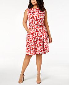 Anne Klein Plus Size Floral-Print Fit & Flare Sashed Dress